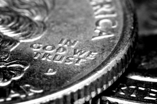 "Macro focused in on ""In God We Trust"""